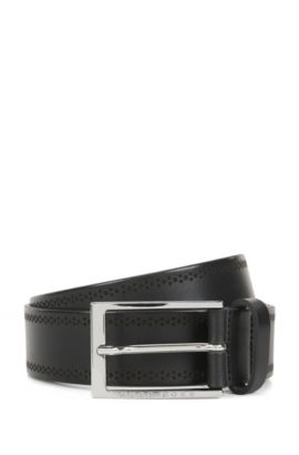 Leather belt with brogue detailing, Black