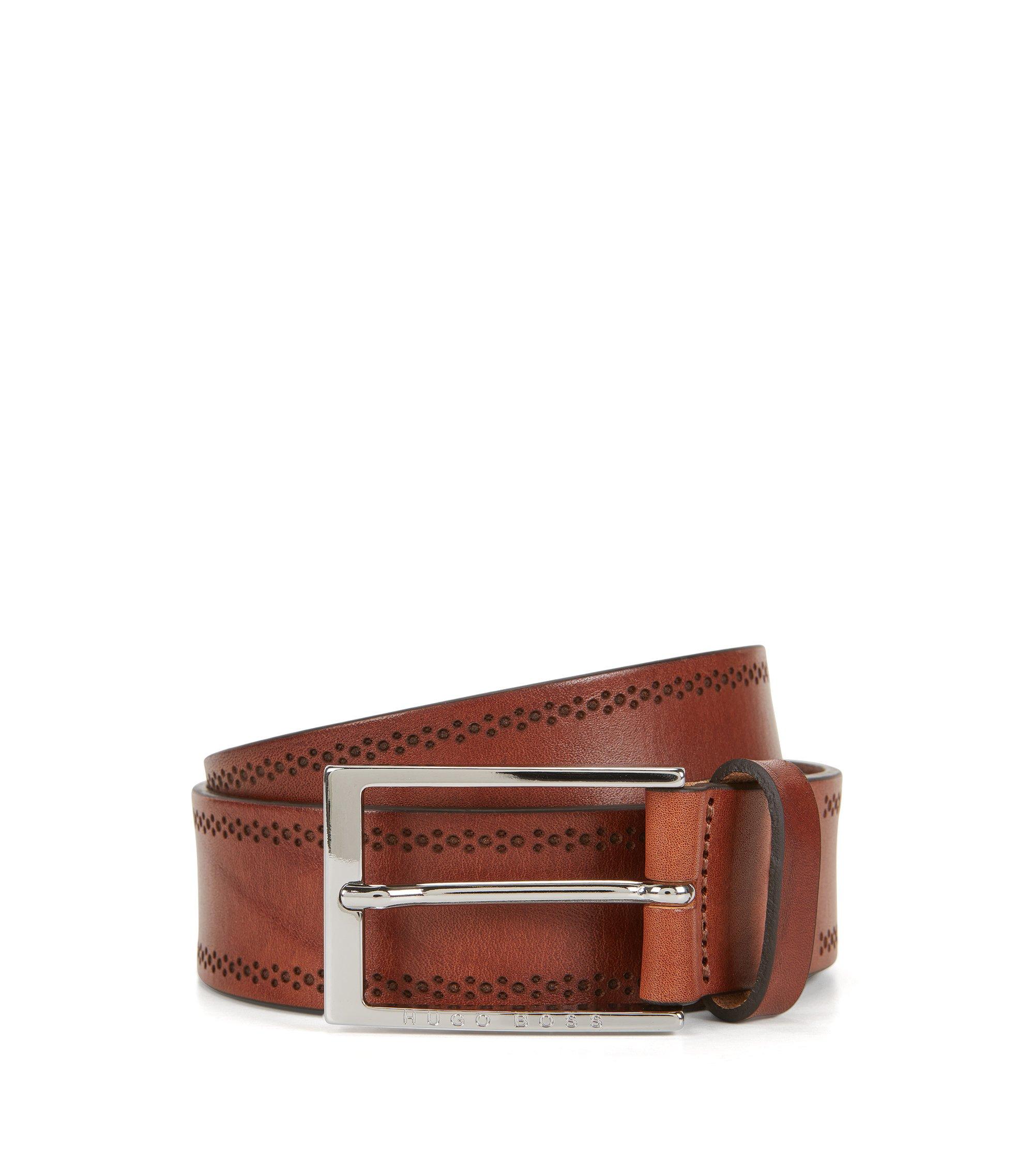 Cinturón de piel con detalle calado, Marrón