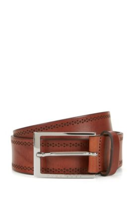 Leather belt with brogue detailing, Brown