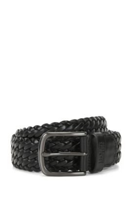 Woven leather belt with gunmetal pin-buckle, Black