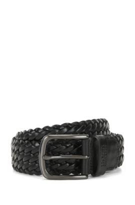 Geflochtener Ledergürtel mit metallener Dornschließe, Schwarz