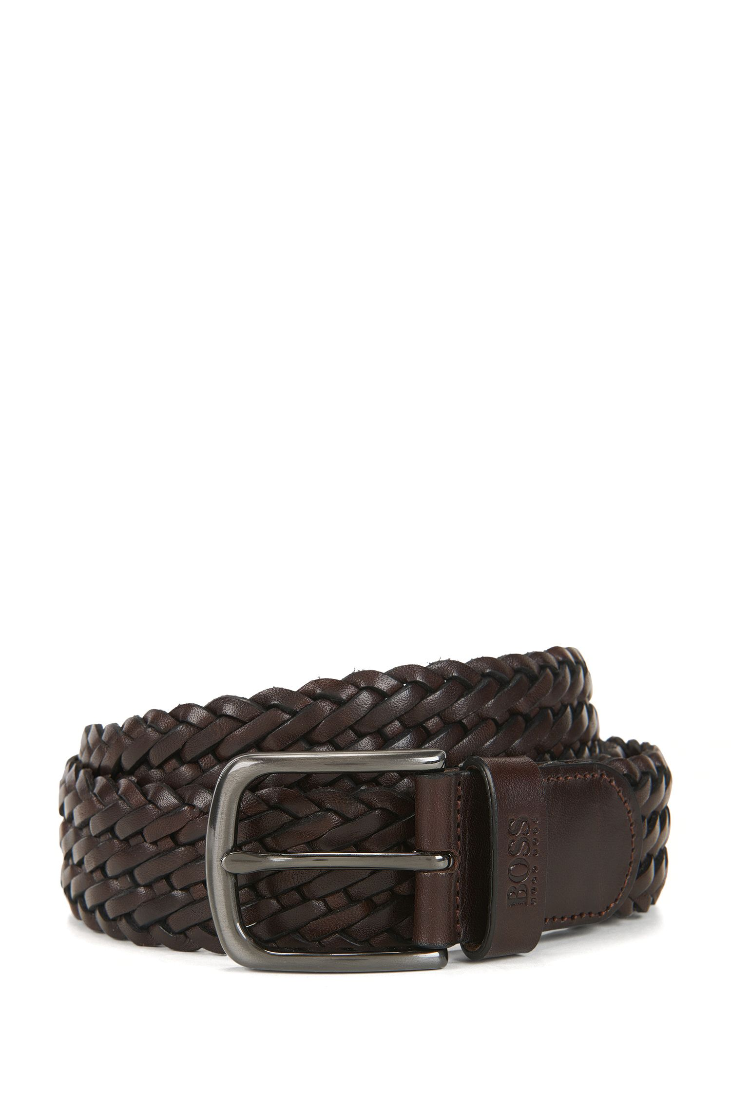 Woven leather belt with gunmetal pin-buckle