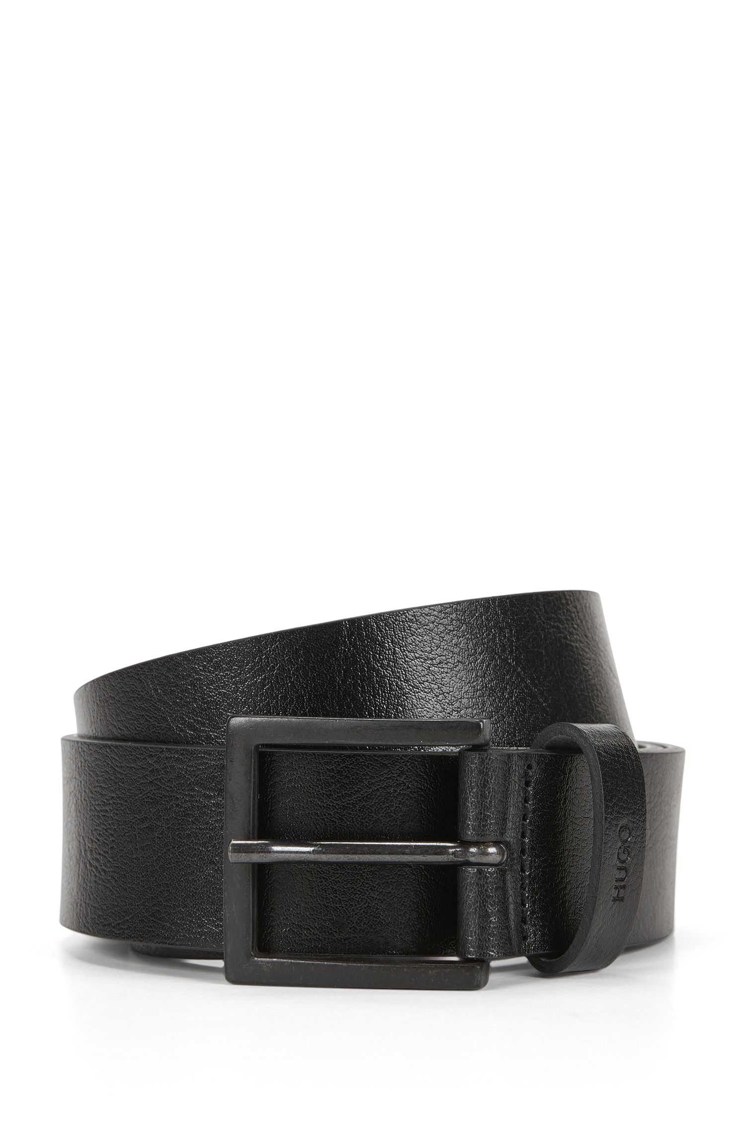 Pin-buckle leather belt with distressed finish