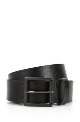 Pin-buckle leather belt with distressed finish, Black