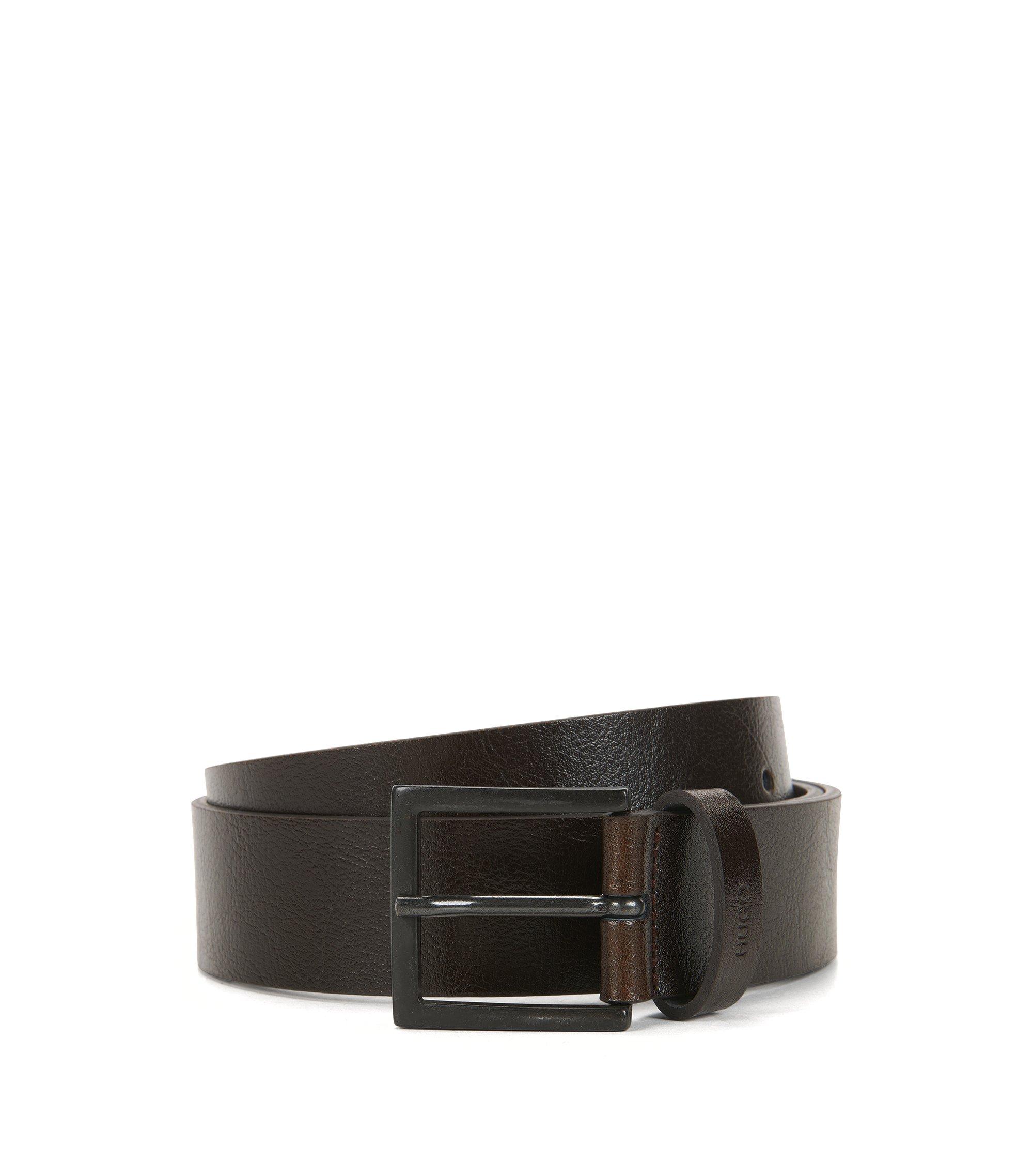 Cinturón de piel con hebilla y acabado desgastado, Marrón oscuro
