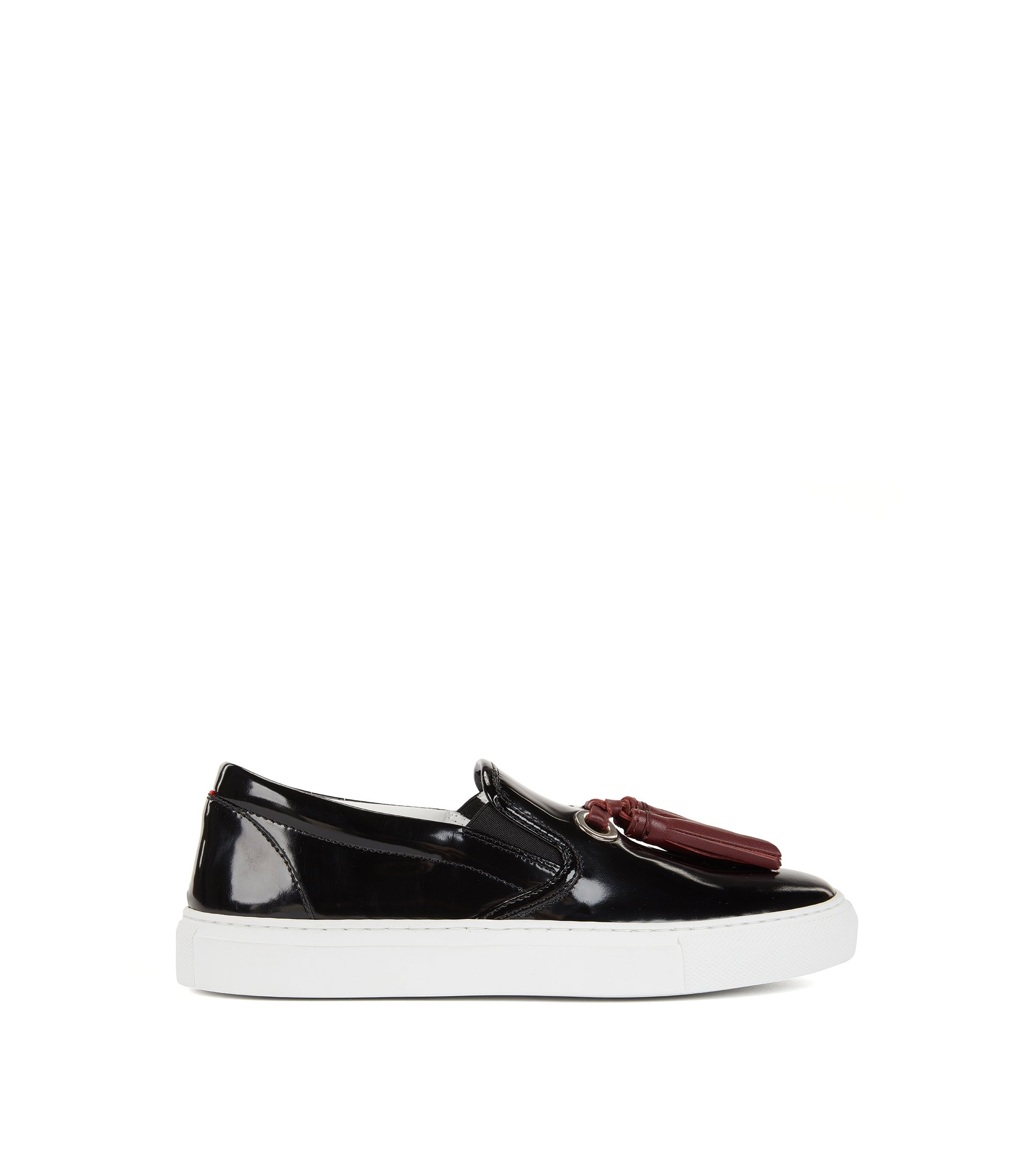 Tasselled loafers in Italian leather, Black