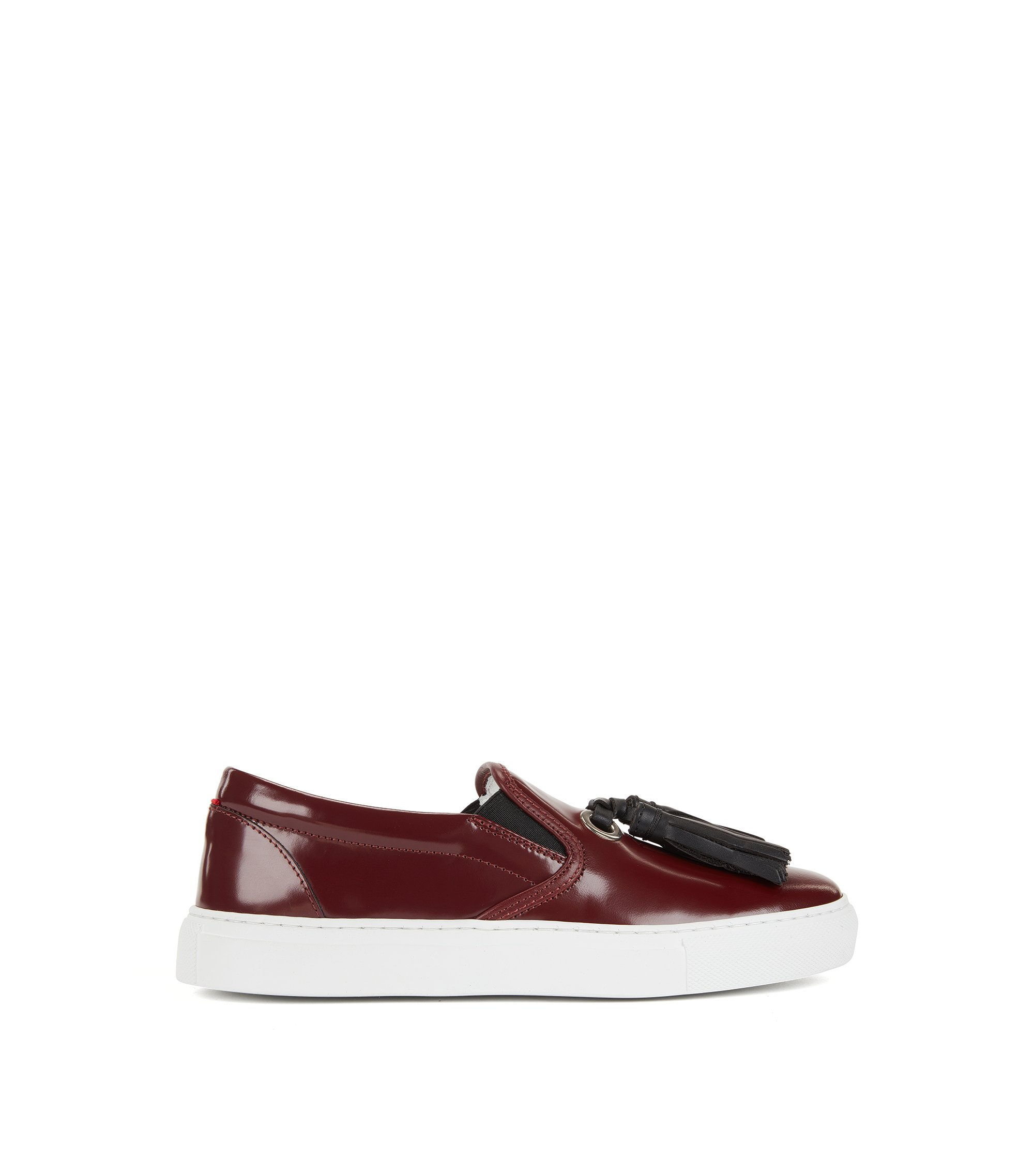 Tasselled loafers in Italian leather, Dark Red