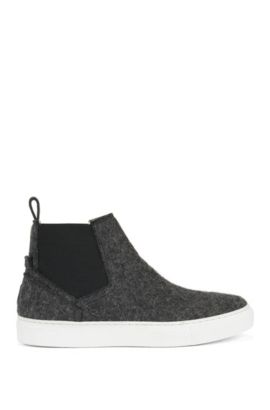 Wool Chelsea boots with elasticated panels, Anthracite
