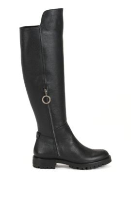 Riding boots in Italian leather, Black