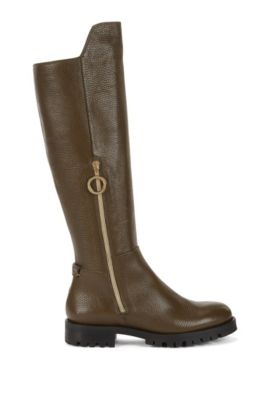 Riding boots in Italian leather, Khaki