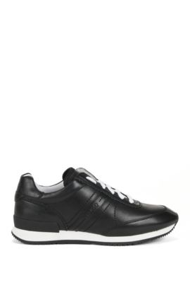 Full-leather trainers with rubber sole, Black