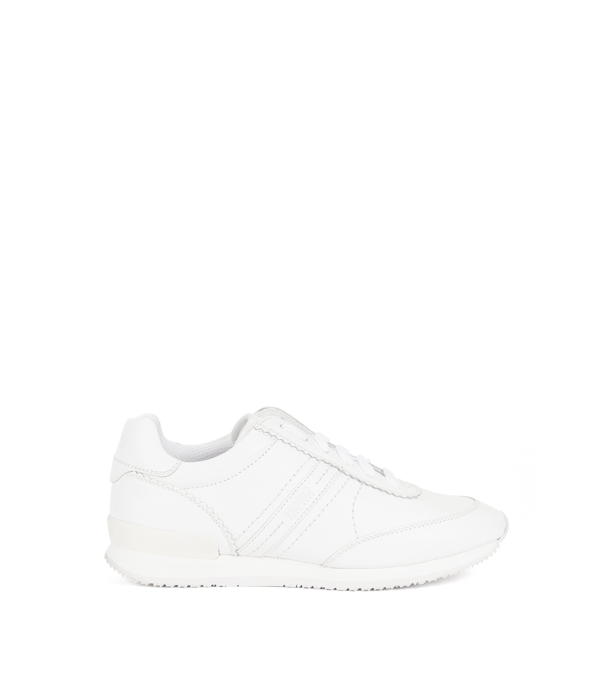 Full-leather trainers with rubber sole, White