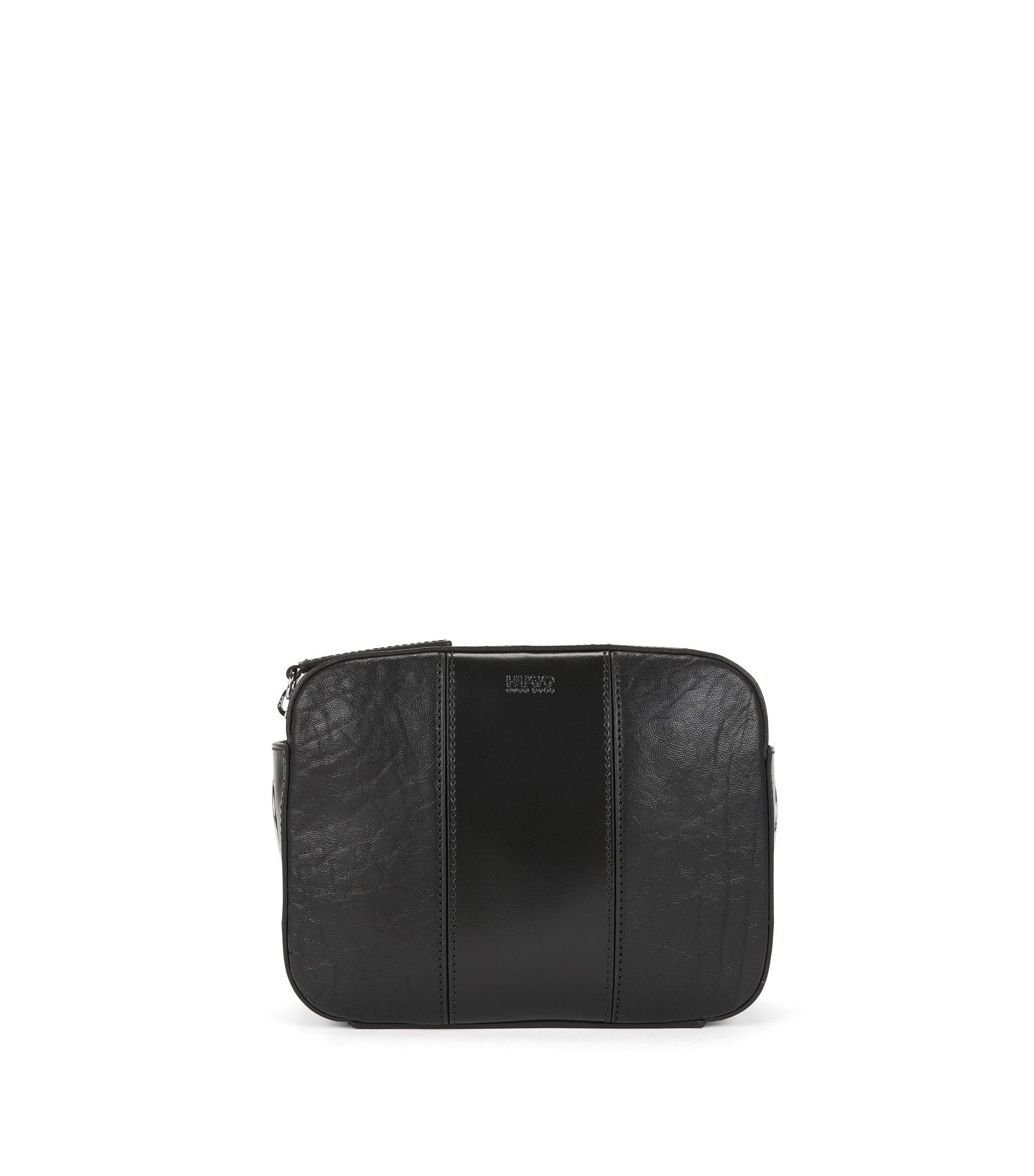 Crossbody bag in Italian leather, Black