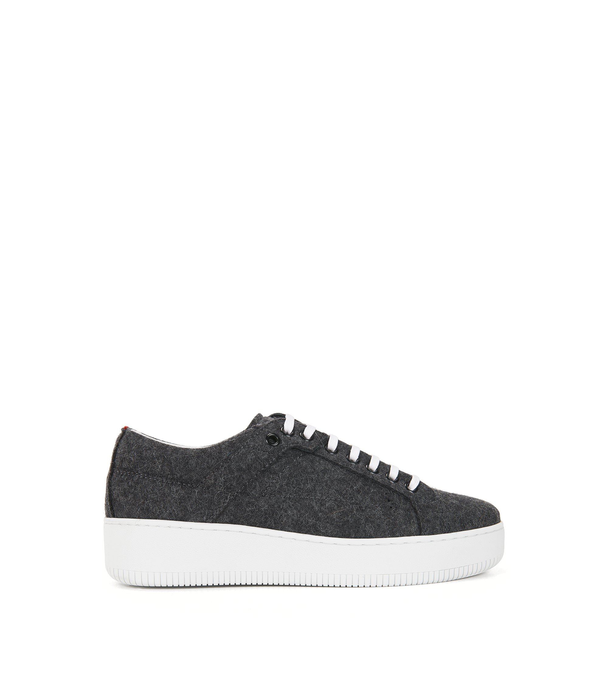 Sneakers met veters, van winterse wol, Antraciet