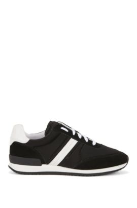 Panelled trainers in suede and leather, Black