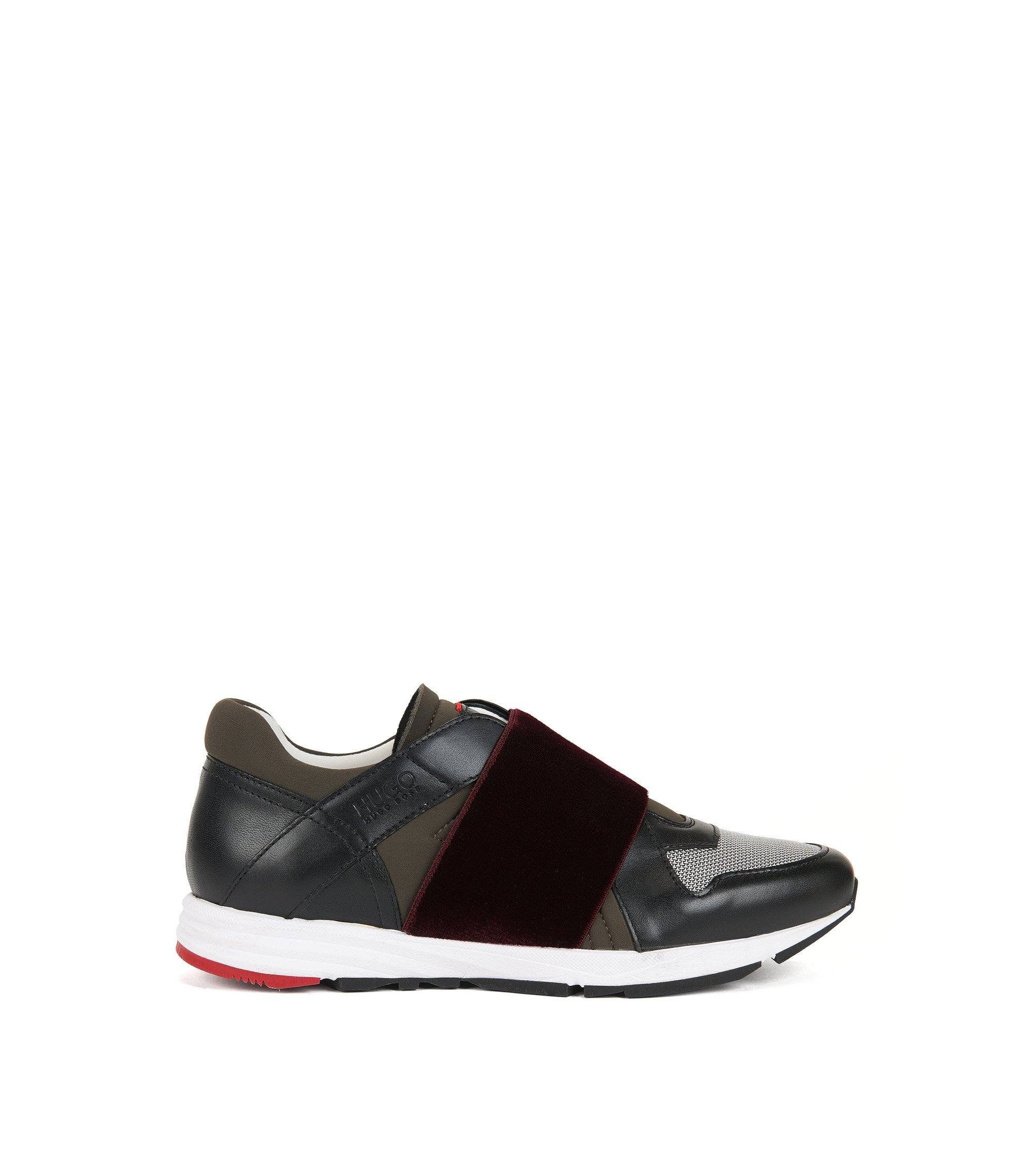Low-top leather trainers with elasticated straps, Black