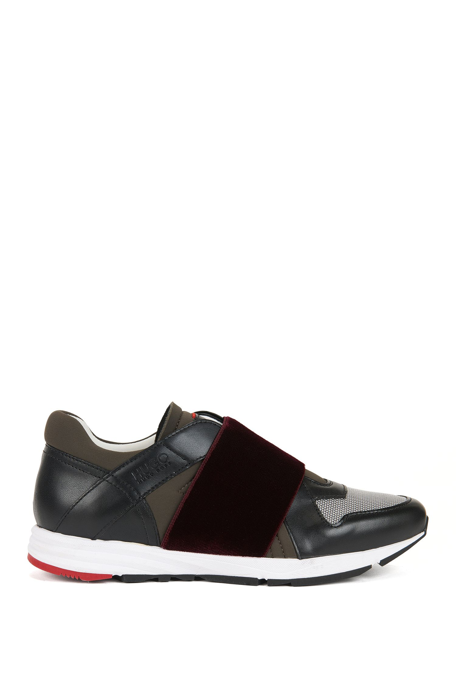Low-top leather trainers with elasticated straps