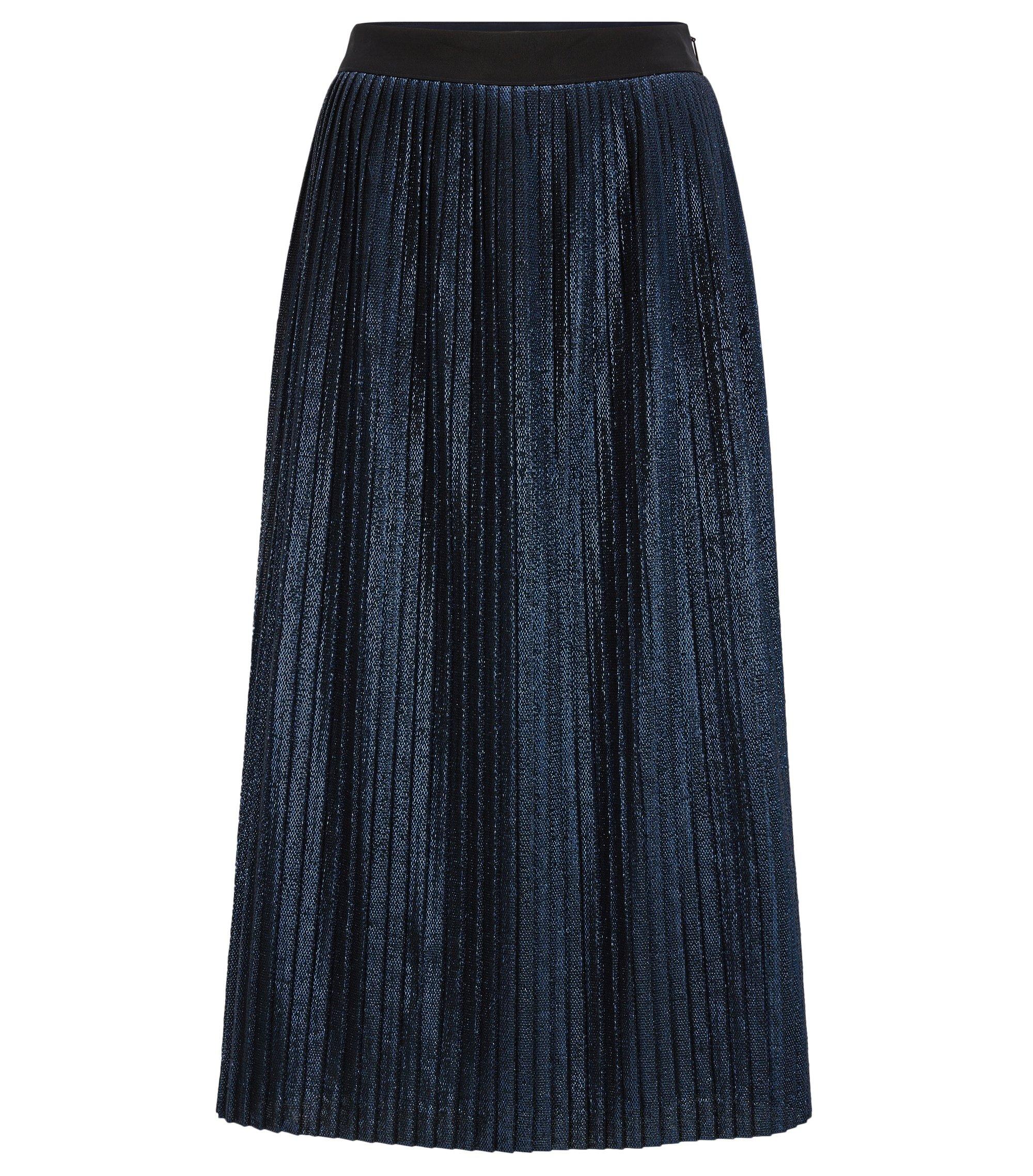 Longuette dalla linea svasata a pieghe in tessuto metallizzato, Blu scuro