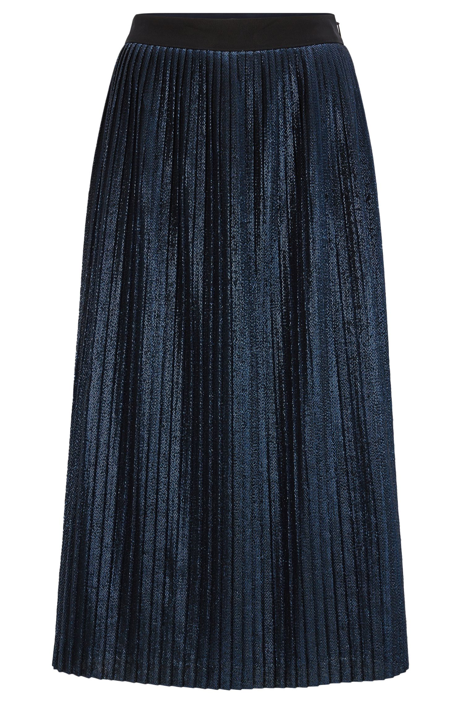 Pleated A-line midi-skirt in metallic fabric