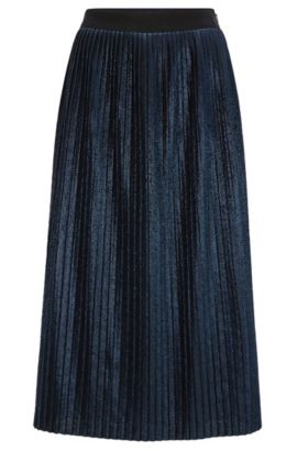Pleated A-line midi-skirt in metallic fabric, Dark Blue