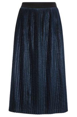 Jupe plissée évasée mi-longue en tissu métallisé, Bleu foncé