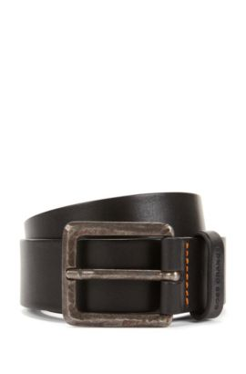 Leather belt with micro perforations, Black