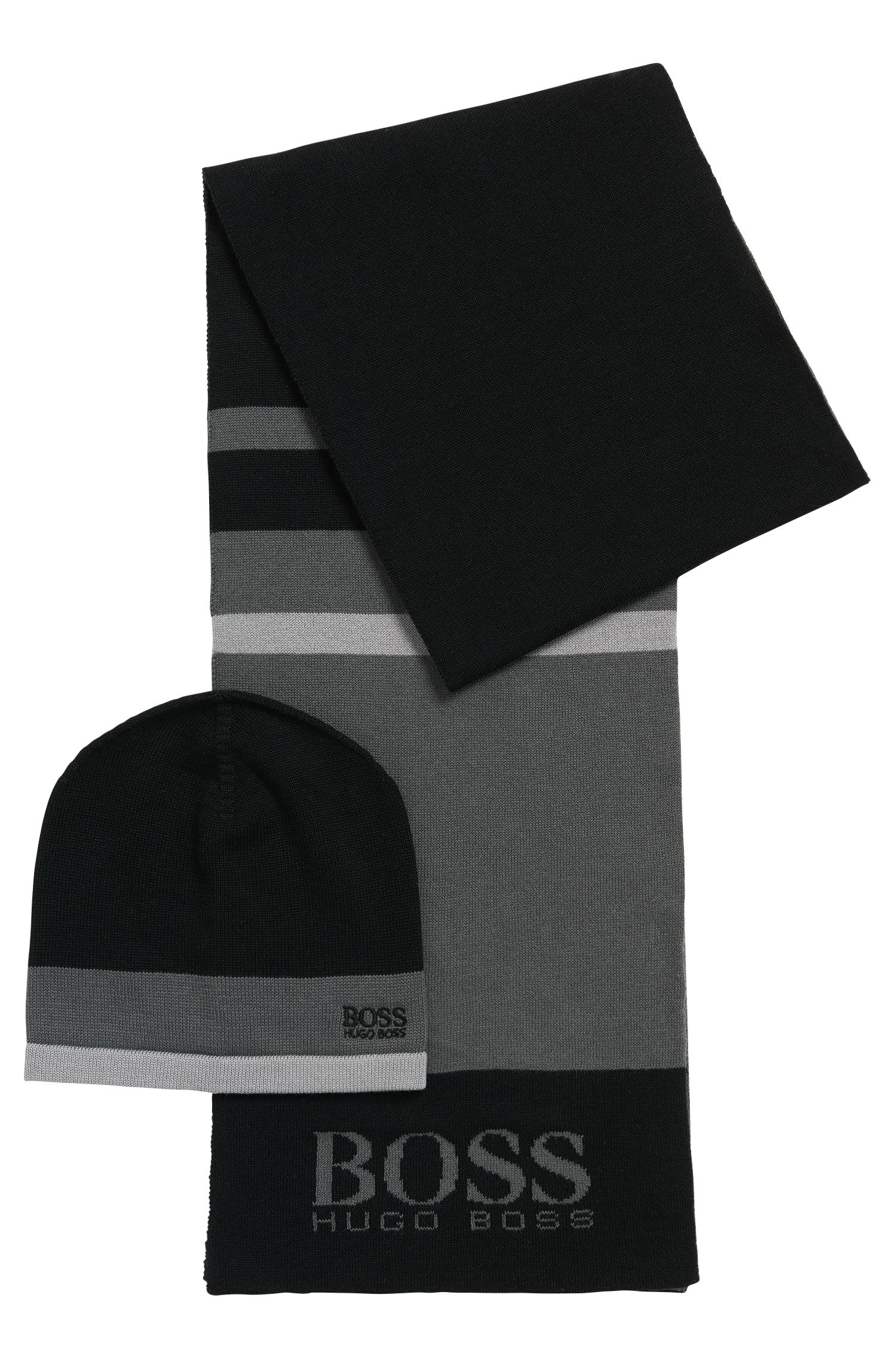 Gift-boxed scarf and beanie in knitted fabric