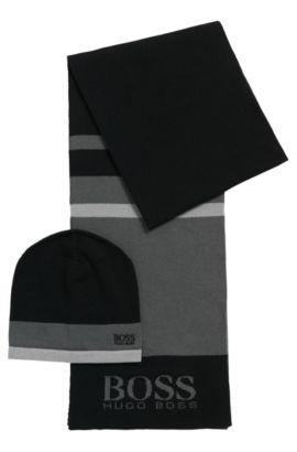 Coffret cadeau composé d'une écharpe et d'un bonnet en tissu à maille , Noir