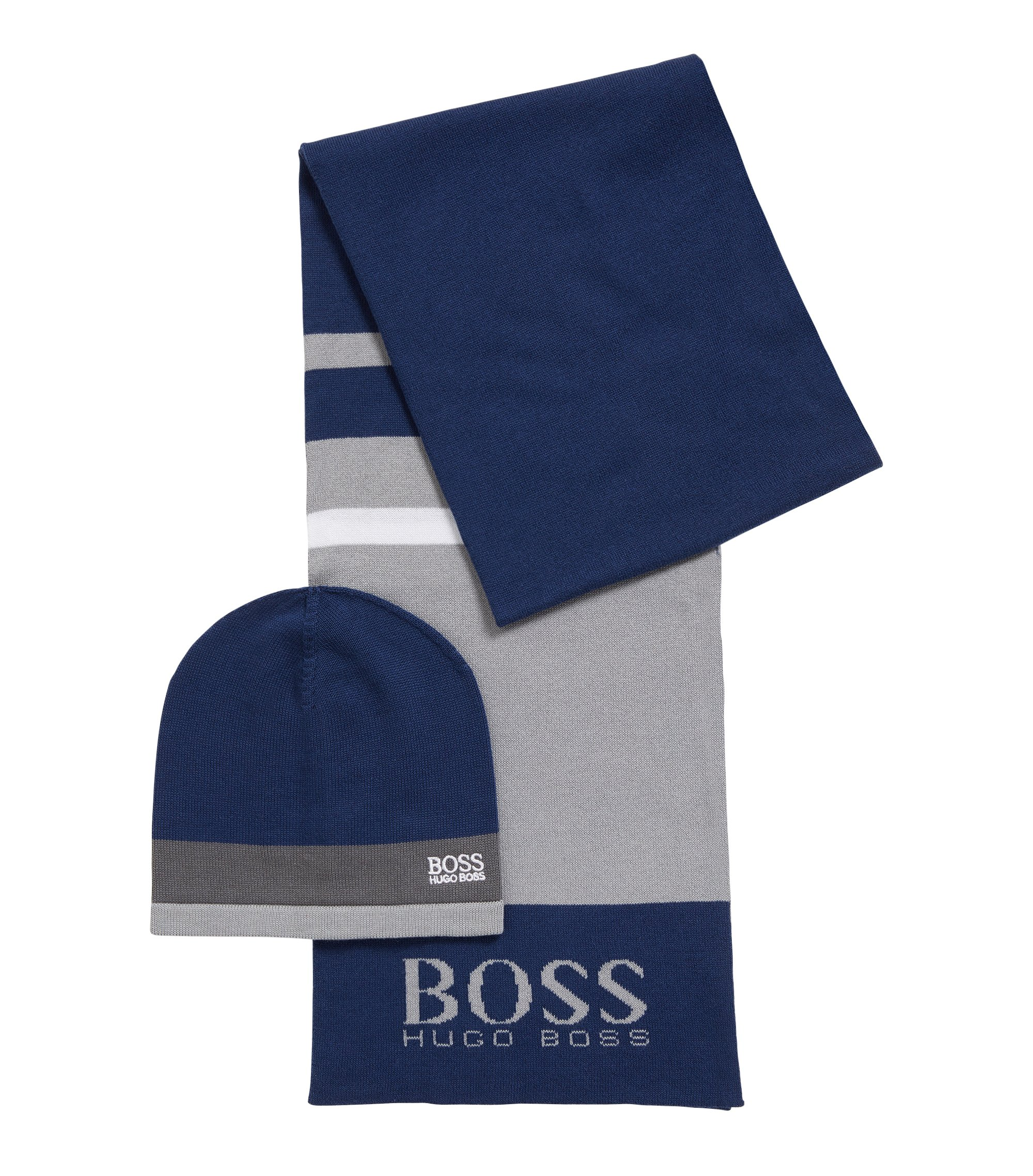 Gift-boxed scarf and beanie in knitted fabric , Dark Blue