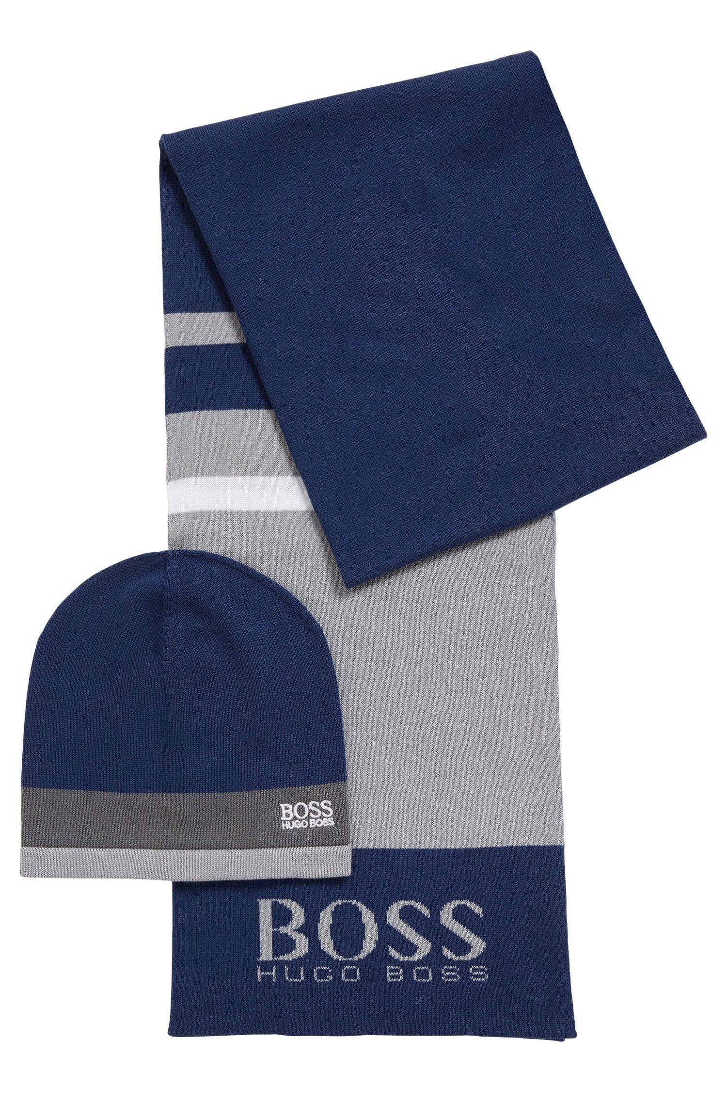 Geschenk-Set mit Schal und Mütze aus Baumwoll-Mix
