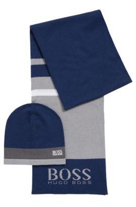 Coffret cadeau composé d'une écharpe et d'un bonnet en tissu à maille , Bleu foncé