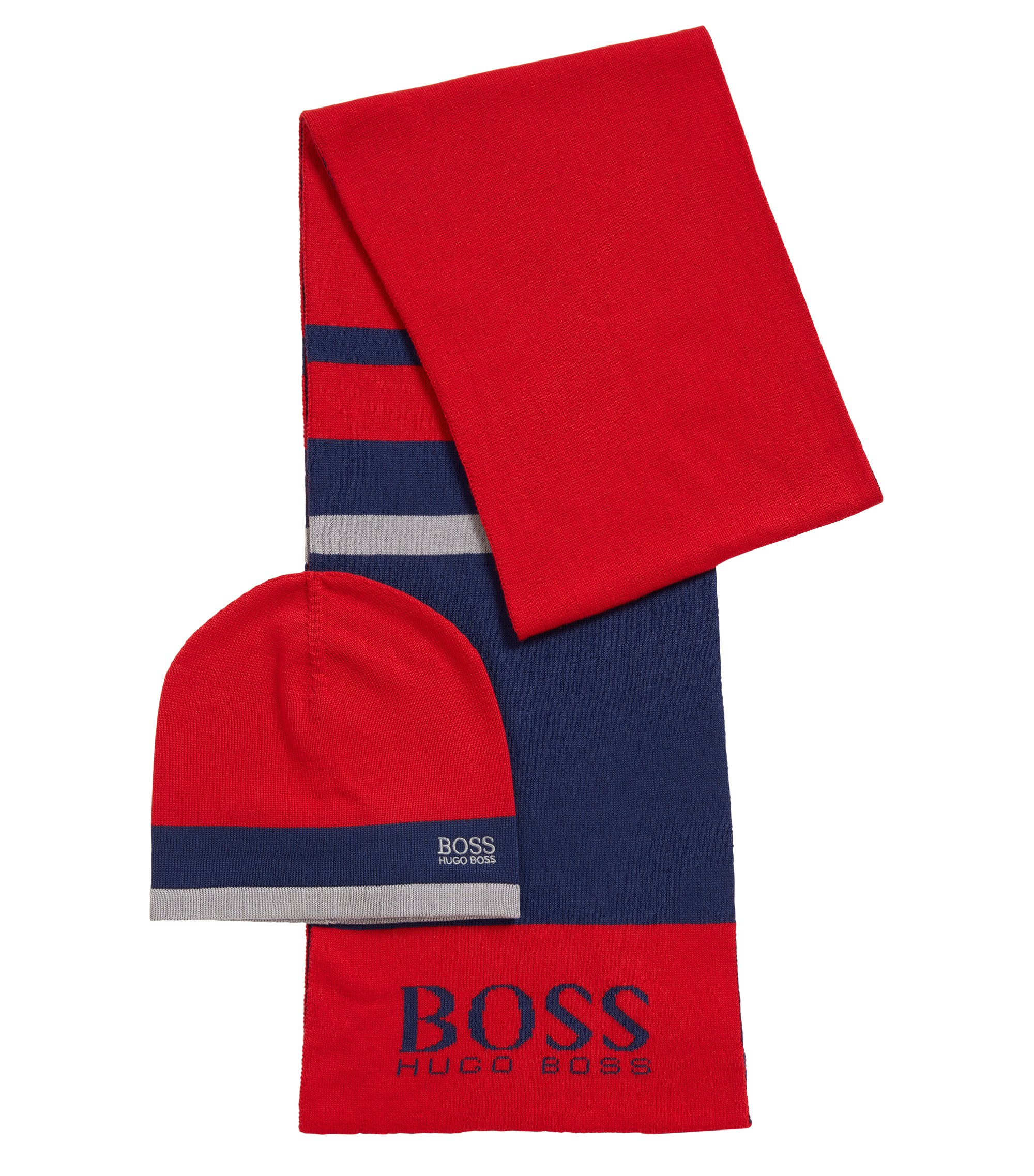 Gift-boxed scarf and beanie in knitted fabric , Red