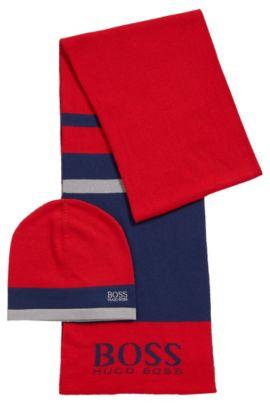 Coffret cadeau composé d'une écharpe et d'un bonnet en tissu à maille , Rouge