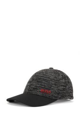 Hybrid baseball cap with technical piqué, Black