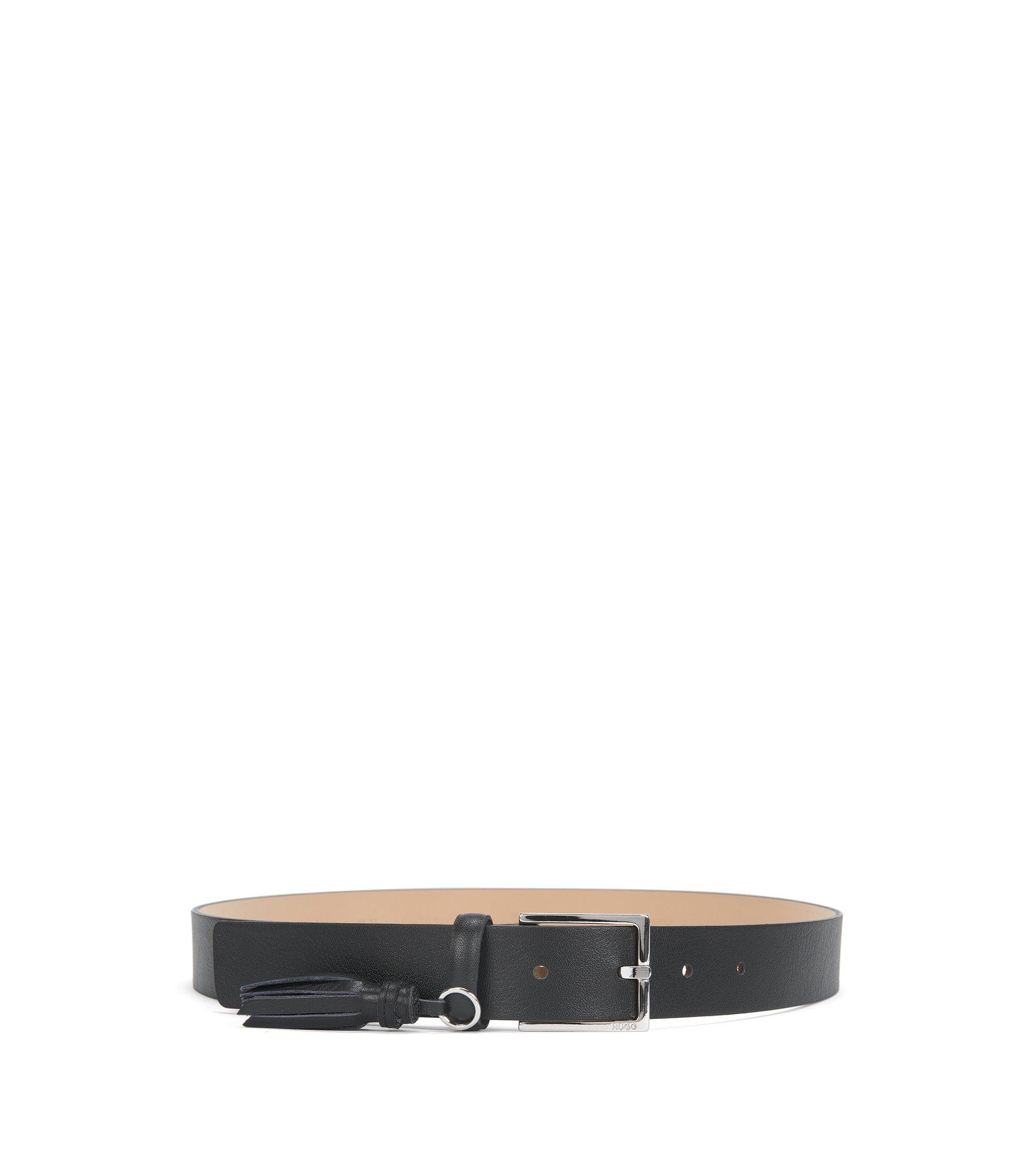 Gürtel aus italienischem Leder mit Quaste, Schwarz