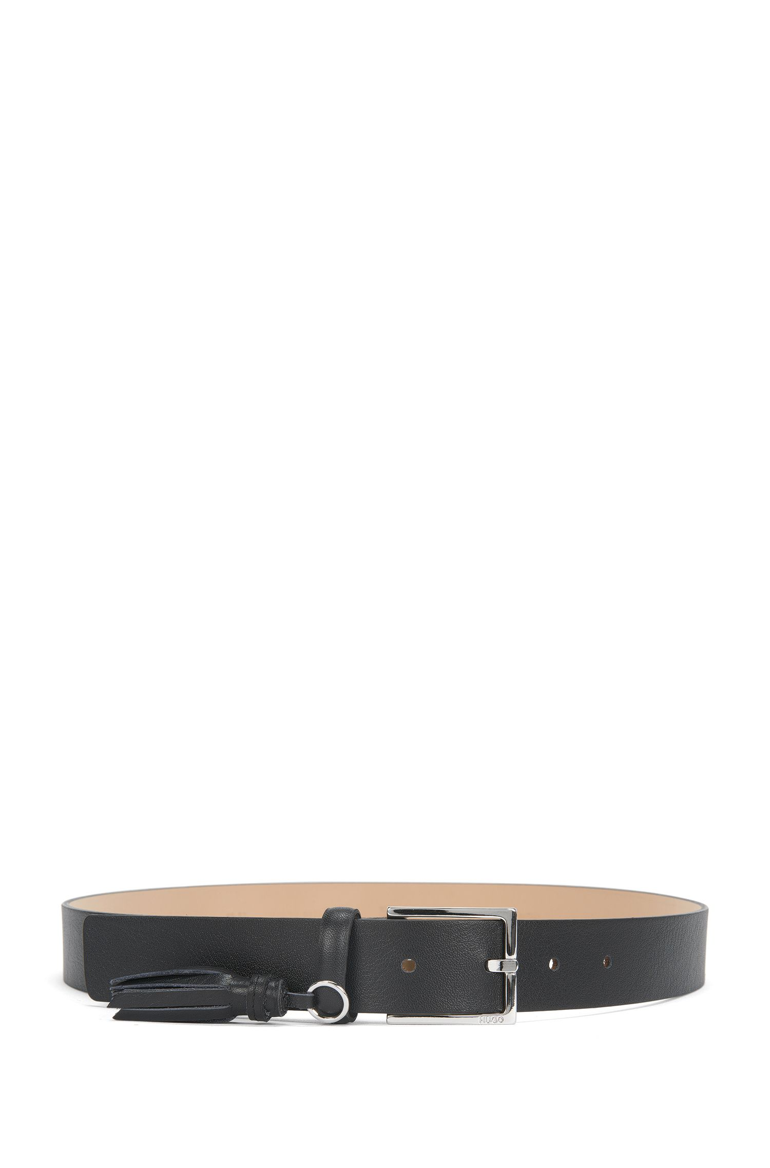 Leather belt with tassel detail