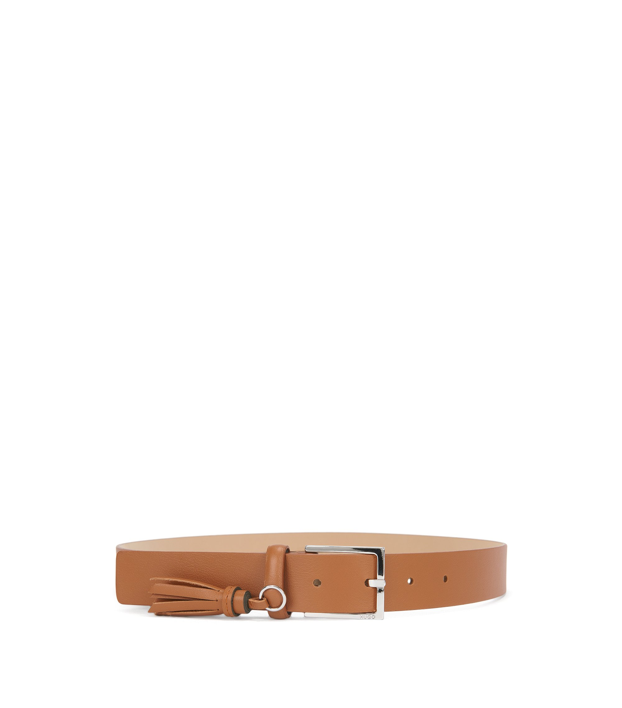 Leather belt with tassel detail, Dark Orange