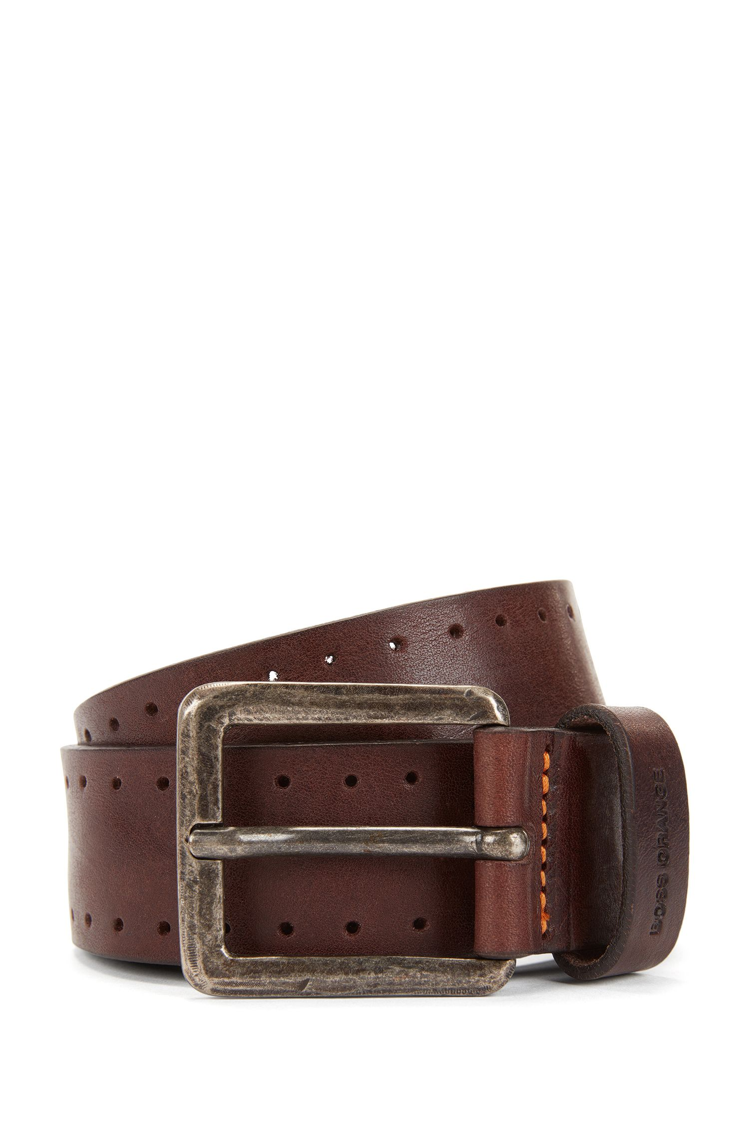 Leather belt with brogue detailing