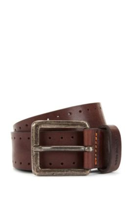 Leather belt with brogue detailing, Dark Brown