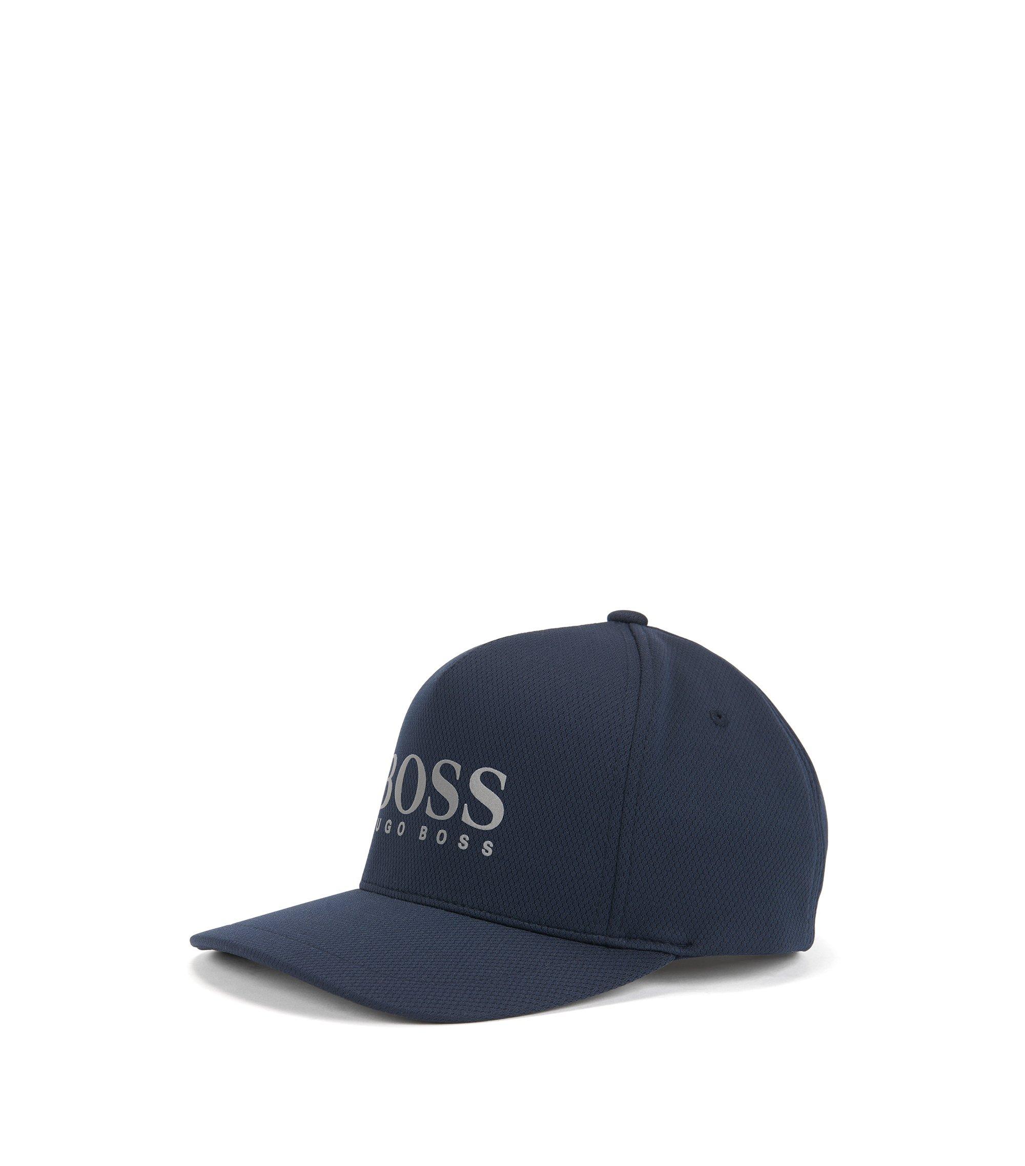 Cappellino da baseball con logo in jersey a nido d'ape, Blu scuro