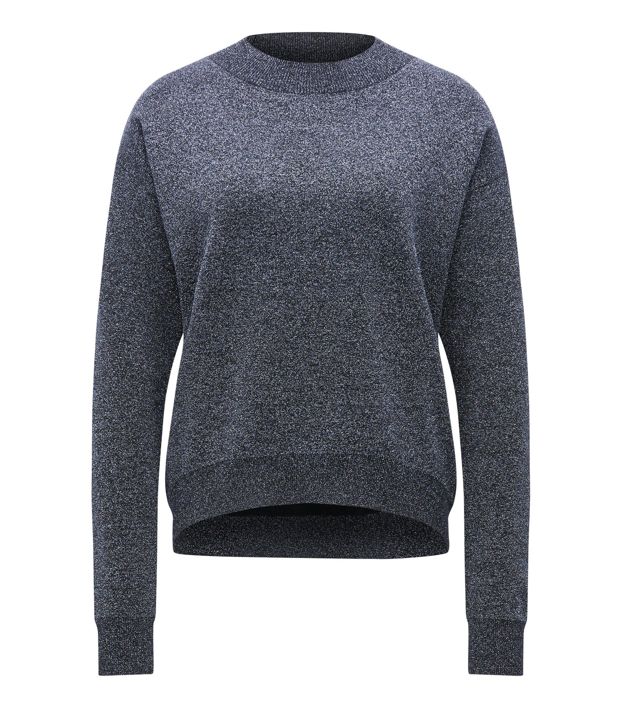Crew-neck sweater in a metallic virgin wool blend, Dark Blue