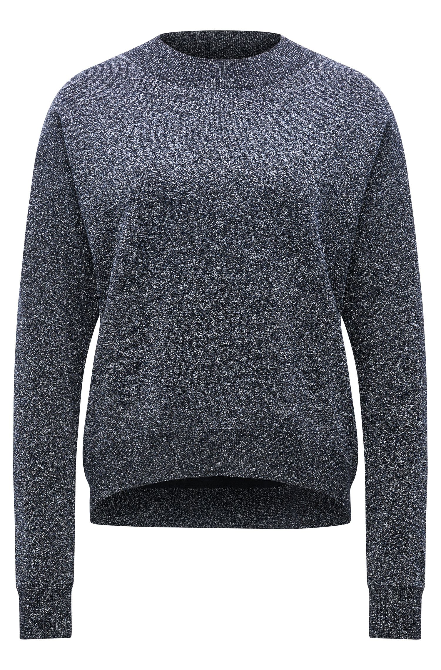 Jersey de cuello redondo en mezcla de lana virgen metalizada