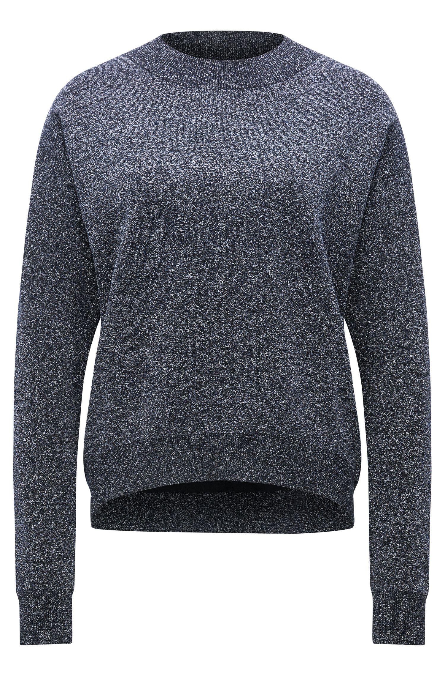 Crew-neck sweater in a metallic virgin wool blend