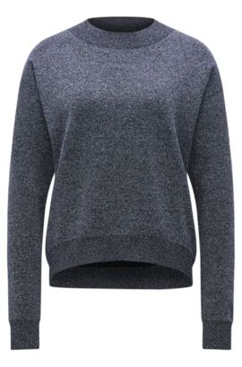 Crew-neck sweater in a metallic virgin wool blend, Dark Blue