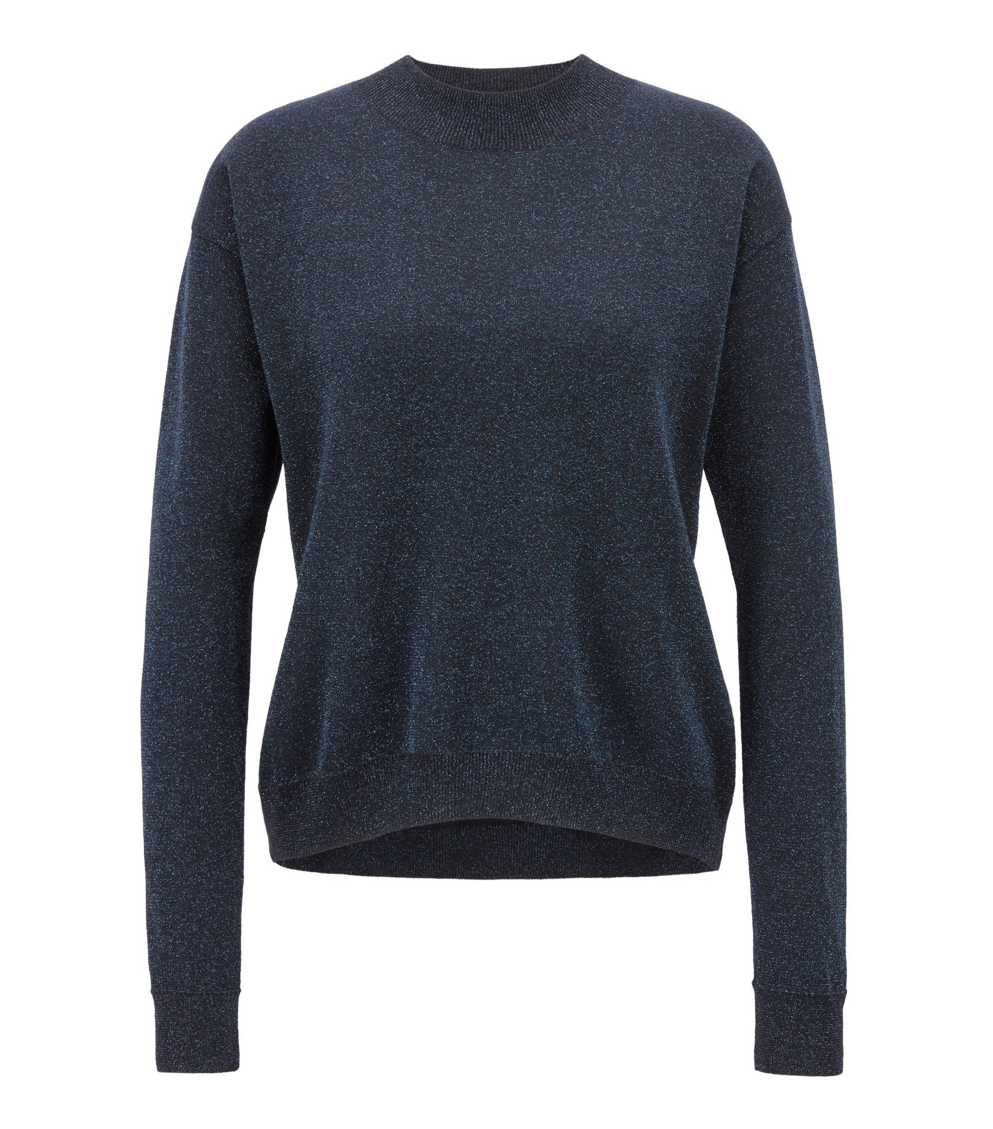 Crew-neck sweater in a metallic virgin wool blend, Open Blue