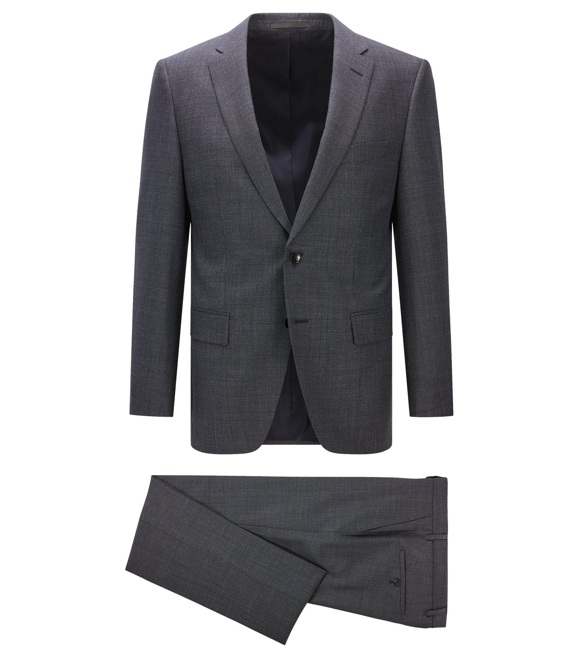 Regular-fit kostuum van gevlekte scheerwol, Donkerblauw