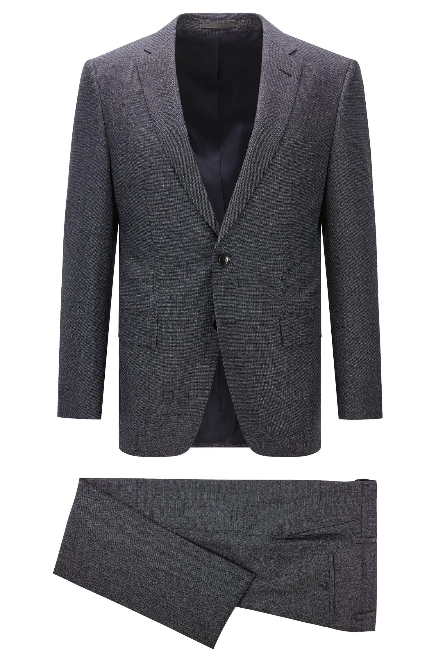 Gesprenkelter Regular-Fit-Anzug aus Schurwolle