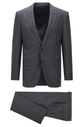 Regular-fit suit in flecked virgin wool, Dark Blue