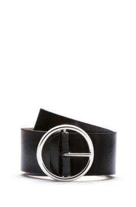 Leather belt with round buckle, Black
