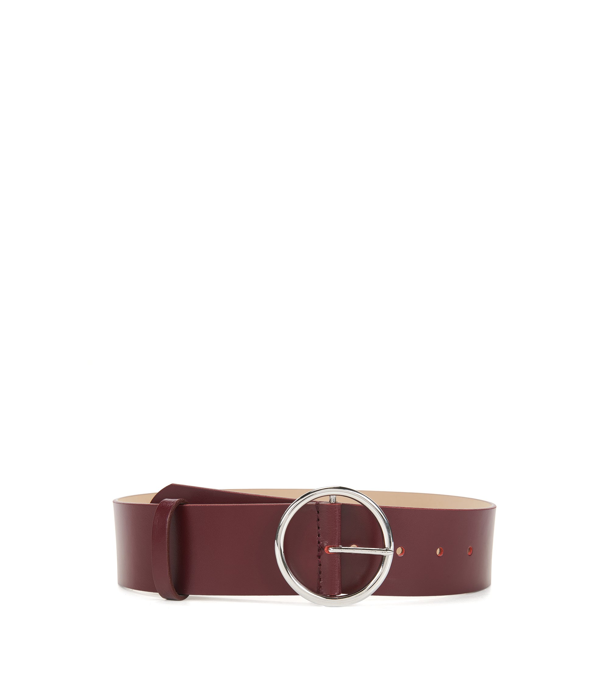 Leather belt with round buckle, Dark Red